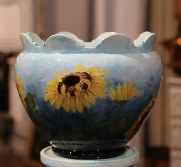 19th Century French Hand Painted Ceramic Planter and Stand Signed D. Massier For Sale 5