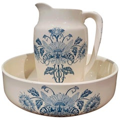 19th Century French Hand Painted Ceramic Wash Bowl and Pitcher from Longchamp