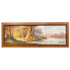 19th Century French Hand Painted Cow Porcelain Tile Composition in Carved Frame