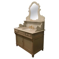 19th Century French Hand Painted Cupboard Sink with Marble Top, 1890s