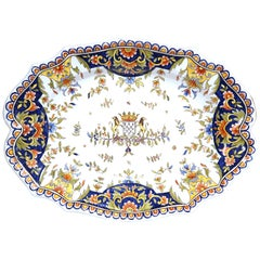 19th Century French Hand Painted Faience Decorative Dish from Normandy