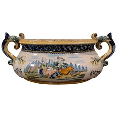 19th Century French Hand Painted Faience Jardinière Signed HR Quimper
