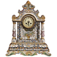 19th Century French Hand Painted Faience Mantel Clock from Rouen