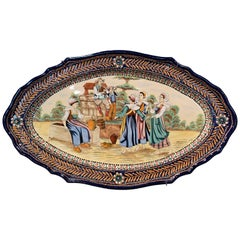 19th Century French Hand Painted Faience Oval Wall Platter Signed HB Quimper