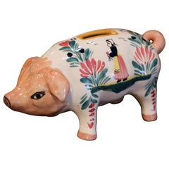 19th Century French Hand Painted Faience Piggy Bank Signed HB Quimper