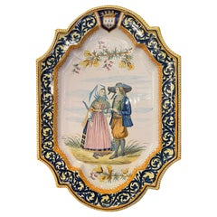 19th Century French Hand Painted Faience Porquier Beau Quimper Wall Platter