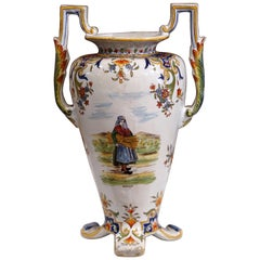 19th Century French Hand Painted Faience Vase with Handles from Normandy