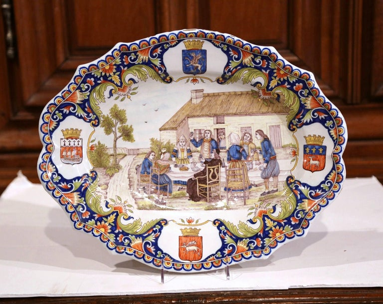 19th Century French Hand Painted Faience Wall Platter from Brittany In Excellent Condition For Sale In Dallas, TX