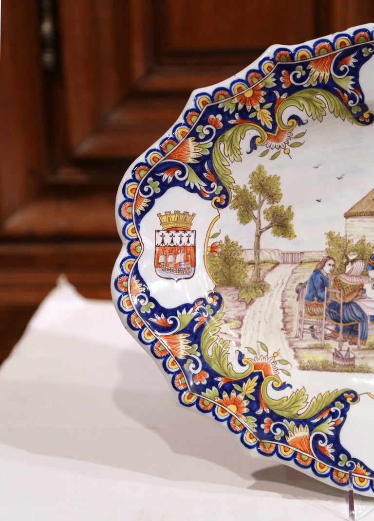 Ceramic 19th Century French Hand Painted Faience Wall Platter from Brittany For Sale