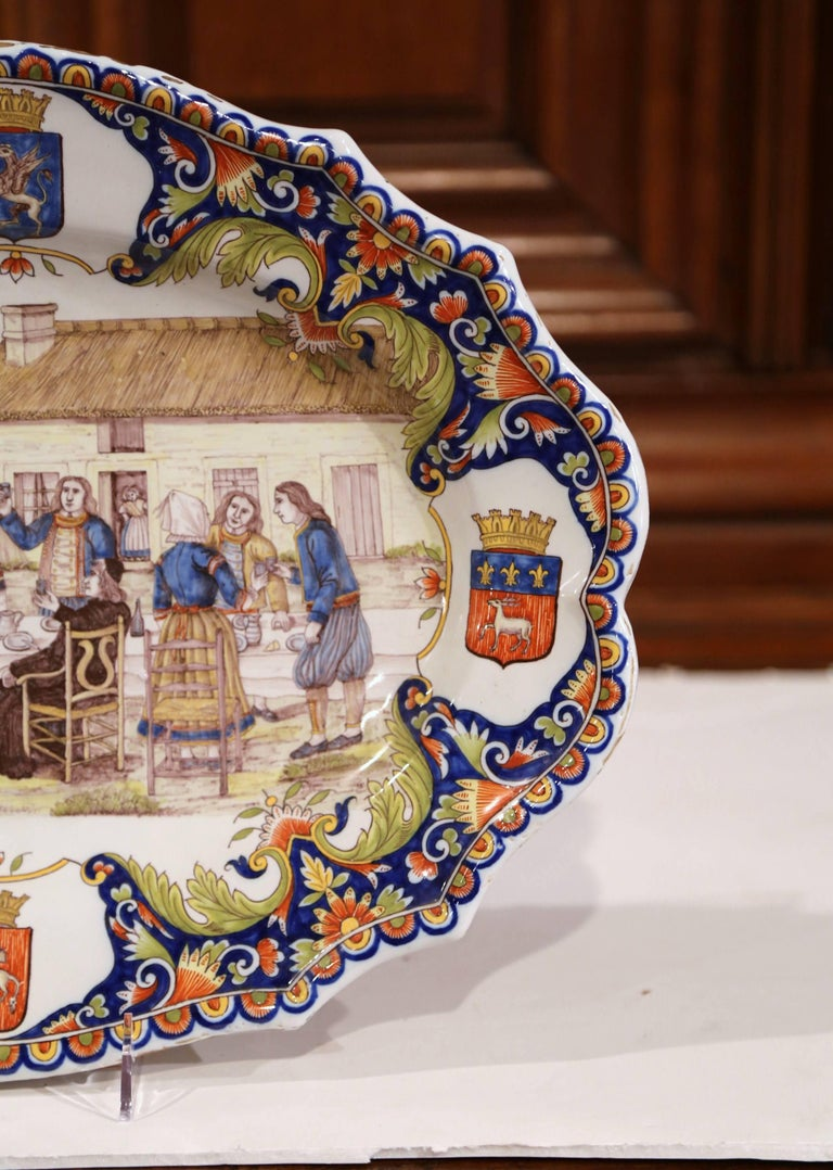 19th Century French Hand Painted Faience Wall Platter from Brittany For Sale 1