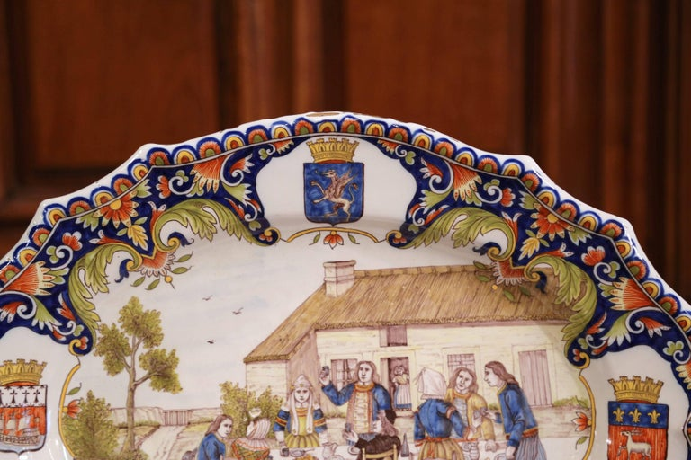19th Century French Hand Painted Faience Wall Platter from Brittany For Sale 2