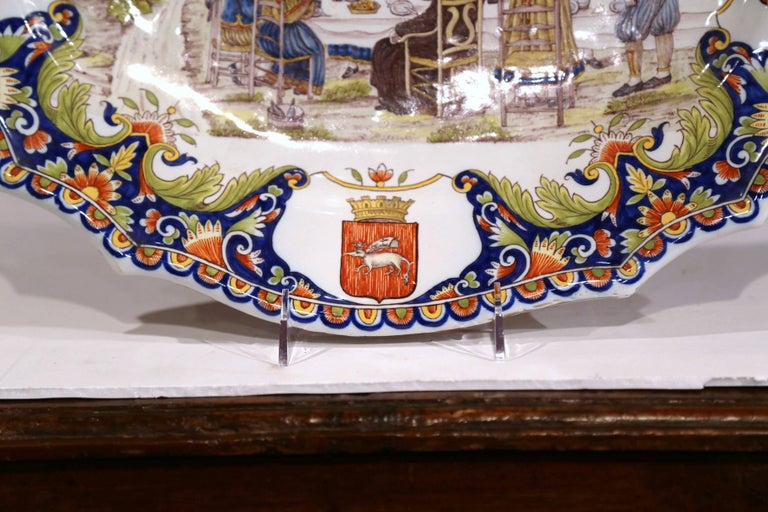 19th Century French Hand Painted Faience Wall Platter from Brittany For Sale 3