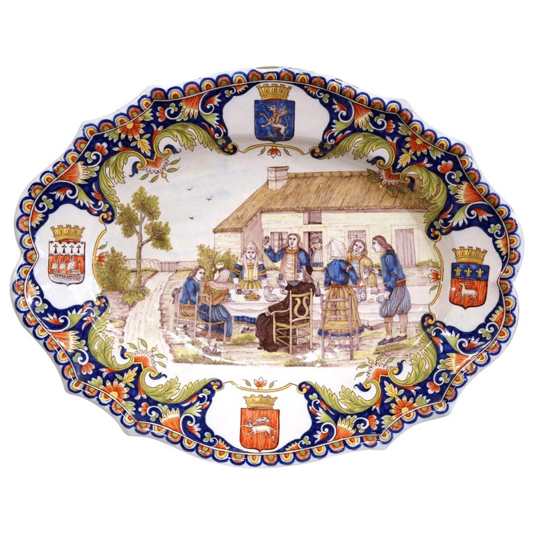 19th Century French Hand Painted Faience Wall Platter from Brittany For Sale