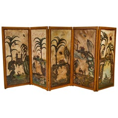 19th Century French Hand Painted Five-Panel Screen