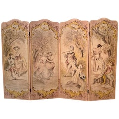 19th Century French Hand Painted Four-Panel Canvas Screen with Romantic Scenes