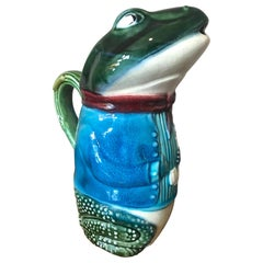 19th Century French Hand Painted Frog Pitcher, 1890s