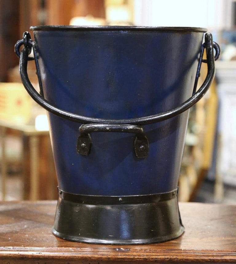 Patinated 19th Century French Hand Painted Iron Coal Bucket with Coat of Arms Decor For Sale