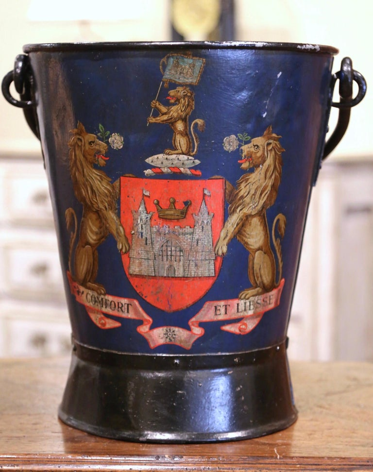 19th Century French Hand Painted Iron Coal Bucket with Coat of Arms Decor In Excellent Condition For Sale In Dallas, TX