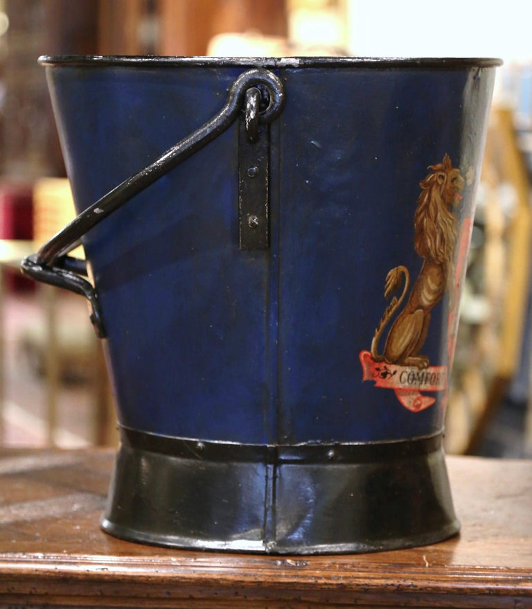 Metal 19th Century French Hand Painted Iron Coal Bucket with Coat of Arms Decor For Sale