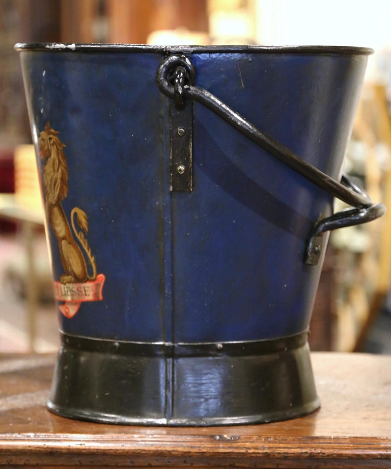 19th Century French Hand Painted Iron Coal Bucket with Coat of Arms Decor For Sale 1