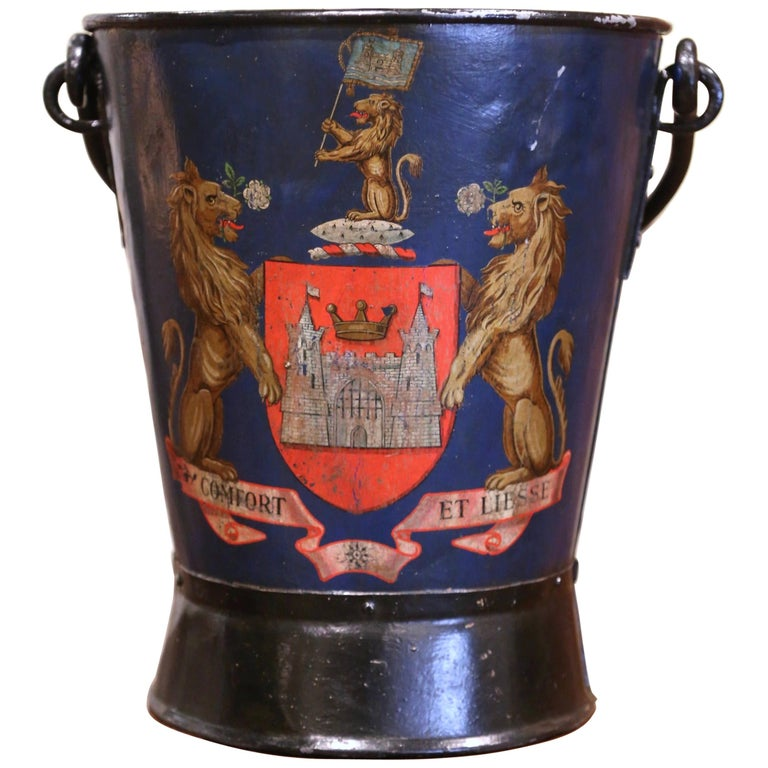 19th Century French Hand Painted Iron Coal Bucket with Coat of Arms Decor For Sale
