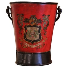 19th Century French Hand Painted Iron Coal Bucket with Crest Decor