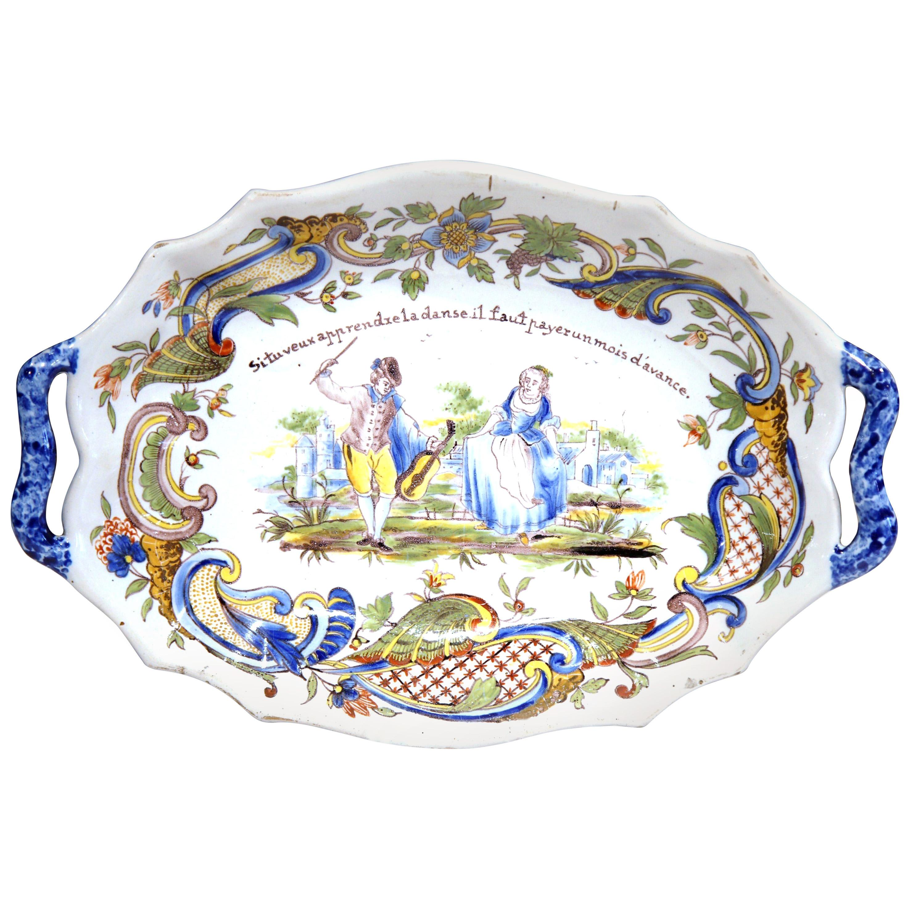 19th Century French Hand Painted Oval Faience Wall Platter from Rouen