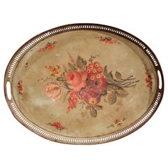 19th Century French Hand Painted Oval Gallery Tole Tray with Flowers and Foliage