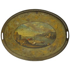 19th Century French Hand Painted Oval Tole Tray with Harbor Scene