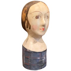 19th Century French Hand Painted Paper Mâché Marotte Bust