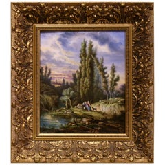 19th Century French Hand Painted Pastoral Porcelain Plaque