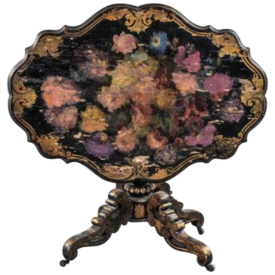 19th Century French Hand Painted Pedestal Table Napoleon III Period