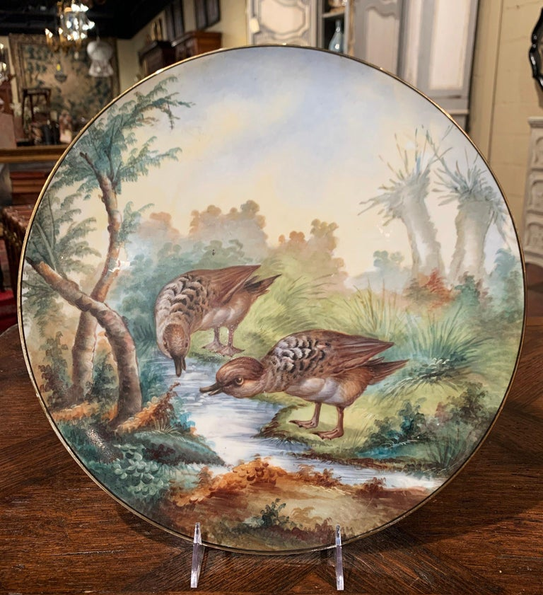 19th Century French Hand Painted Porcelain Bird Platter Signed J. Pouyat In Excellent Condition For Sale In Dallas, TX