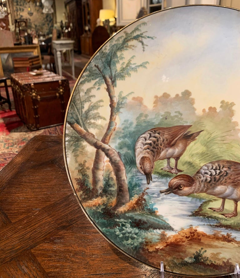 19th Century French Hand Painted Porcelain Bird Platter Signed J. Pouyat For Sale 1