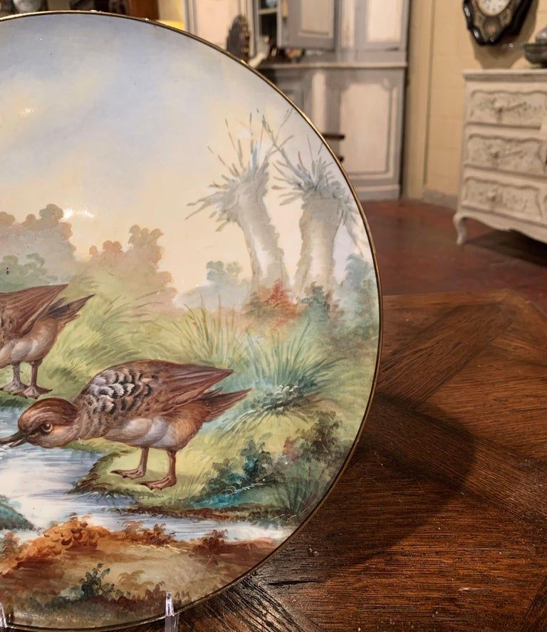 19th Century French Hand Painted Porcelain Bird Platter Signed J. Pouyat For Sale 2