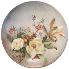 19th Century French Hand Painted Porcelain Charger Signed and Dated Minreal 1889