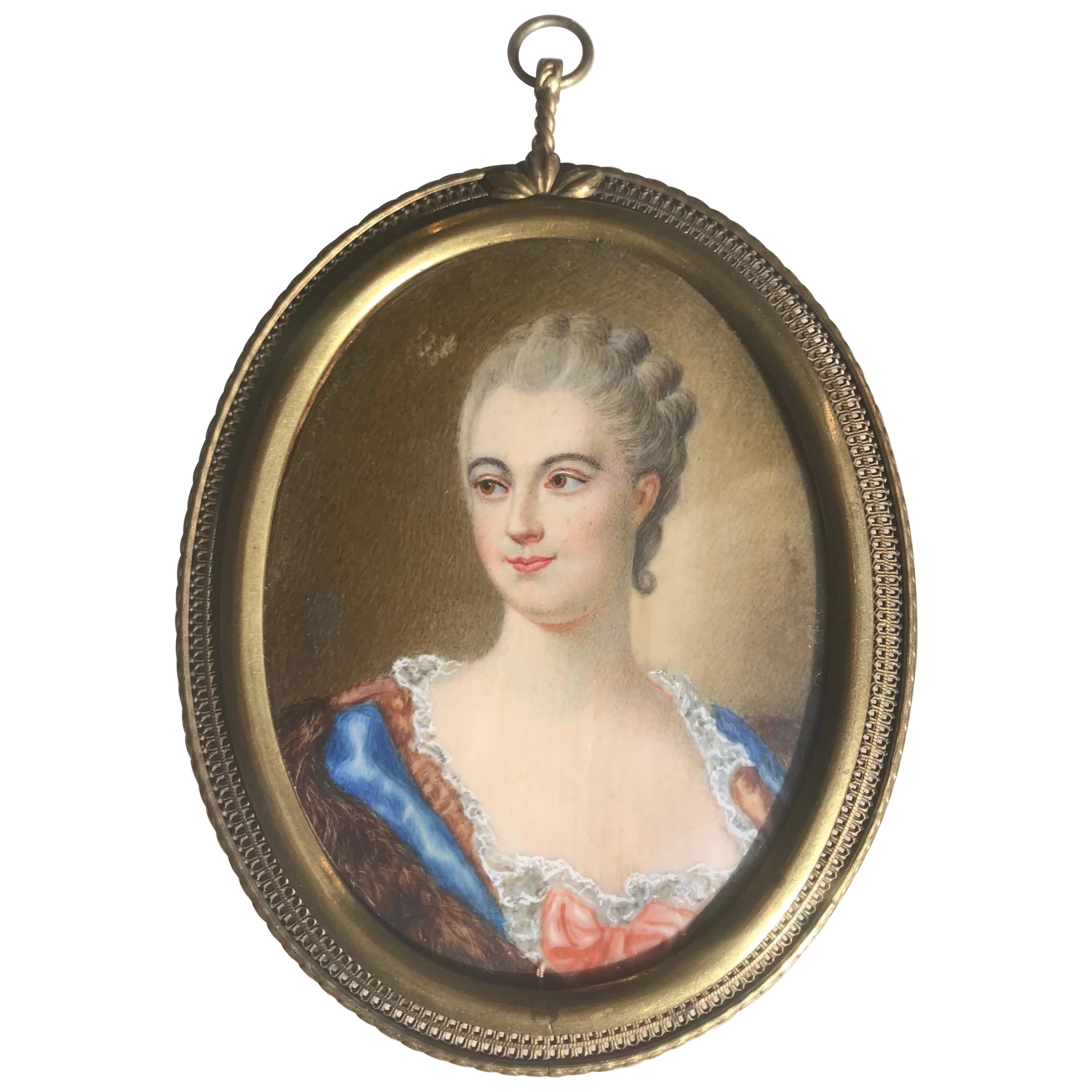 19th Century French Hand Painted Portrait Miniature