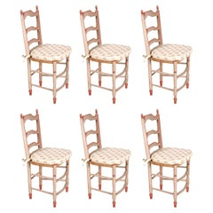 19th Century French Hand Painted Six Dining Chairs in Provincial Style