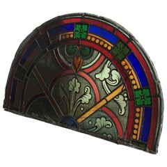 19th Century French Hand Painted Stained Glass Panel