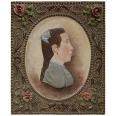 19th Century French Hand Painted Terracotta Woman Figure Wall Plaque