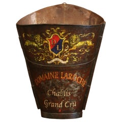19th Century French Hand-Painted Tole Grape Basket from Burgundy