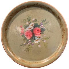 19th Century French Hand Painted Tole Tray with Flowers and Foliage