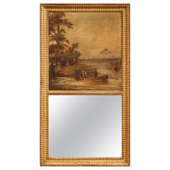 19th Century French Hand Painted Trumeau Mirror in Giltwood Frame