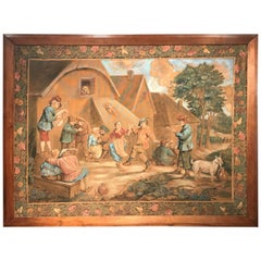 19th Century French Hand Painted Wall Canvas in Walnut Frame after David Teniers