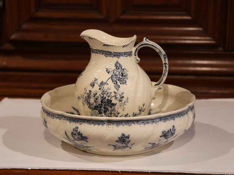 19th Century French Hand Painted Wash Bowl And Pitcher