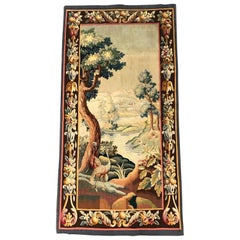 19th Century French Hand Woven Aubusson Verdure Tapestry with Bird and Foliage