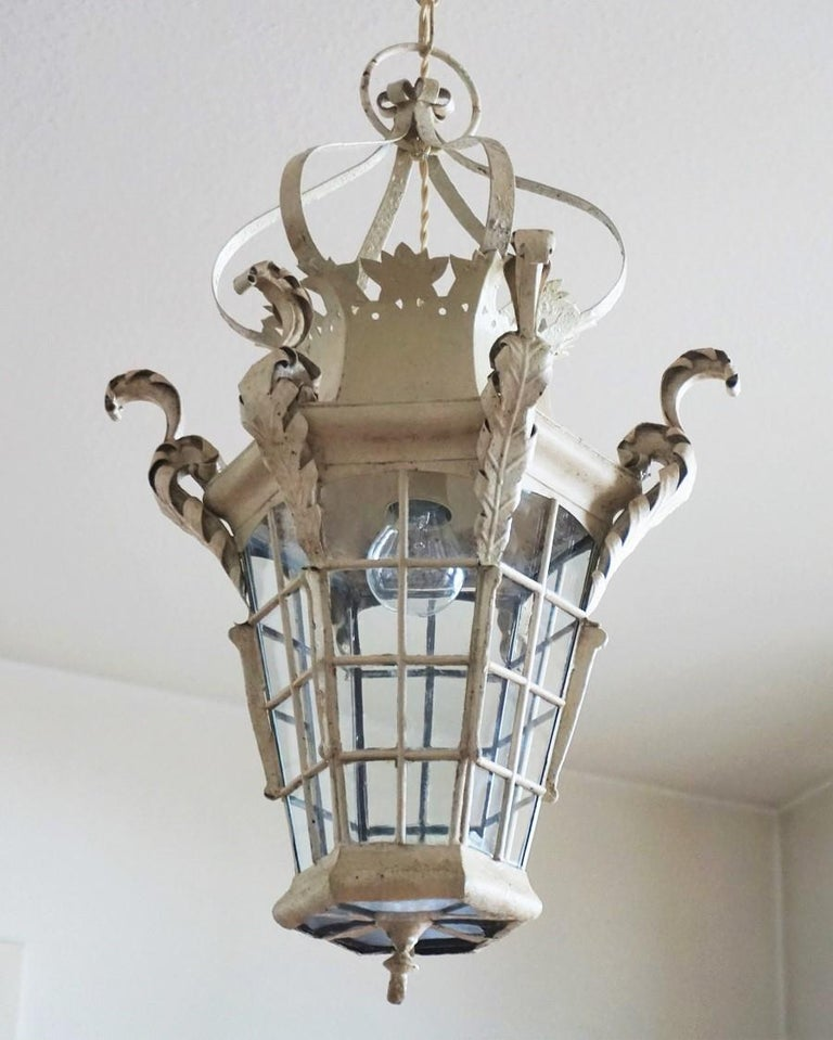 Hand-Painted 19th Century French Handcrafted Wrought Iron Electrified Lantern For Sale