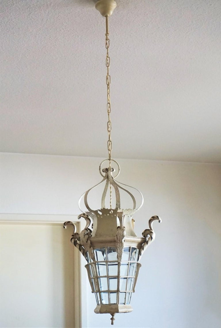 19th Century French Handcrafted Wrought Iron Electrified Lantern In Good Condition For Sale In Frankfurt am Main, DE