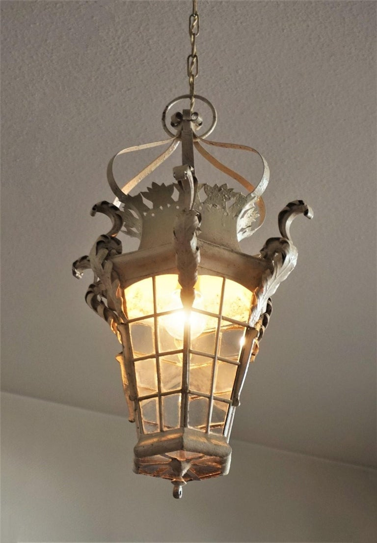 19th Century French Handcrafted Wrought Iron Electrified Lantern For Sale 2