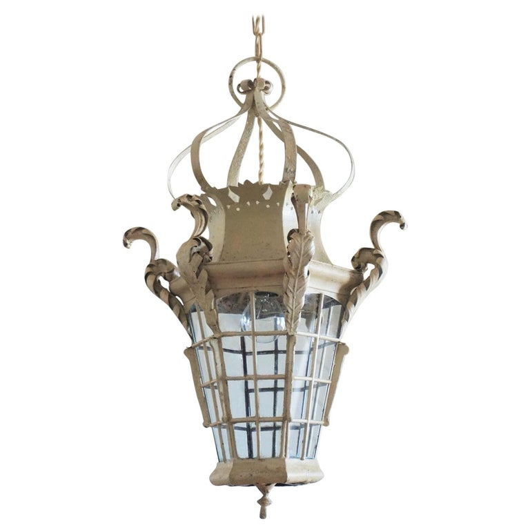 19th Century French Handcrafted Wrought Iron Electrified Lantern For Sale